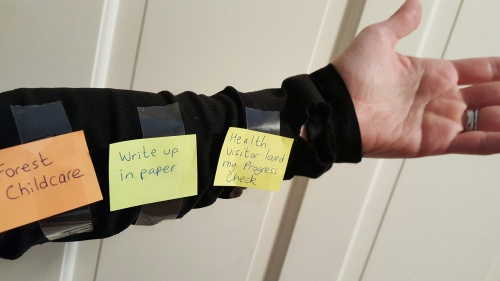post it notes stuck to your arm