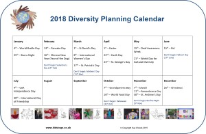 Free one page 2018 Diversity planning calendar for childminders
