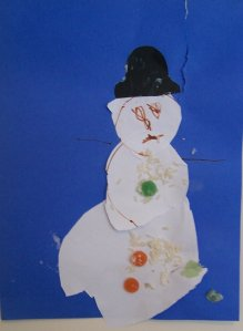snowman craft for childminders done by 2 year old