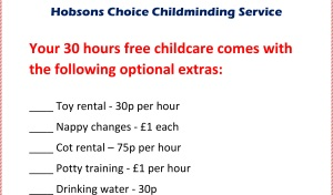 hobsons choice childminding service - childminding humour