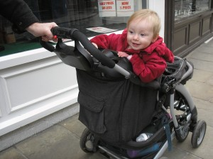 standing in the pushchair