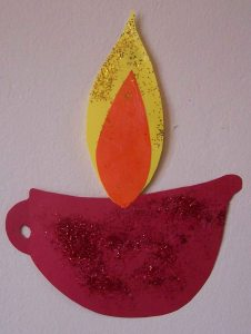diwali lamp in paper for childminders